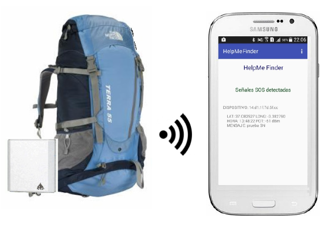 Technology for locating injured people in areas without mobile phone coverage